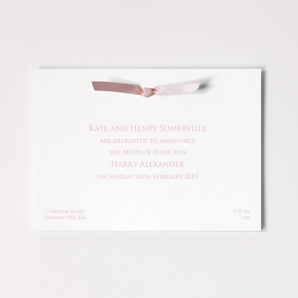 Birth Announcement Postcard With Ribbon