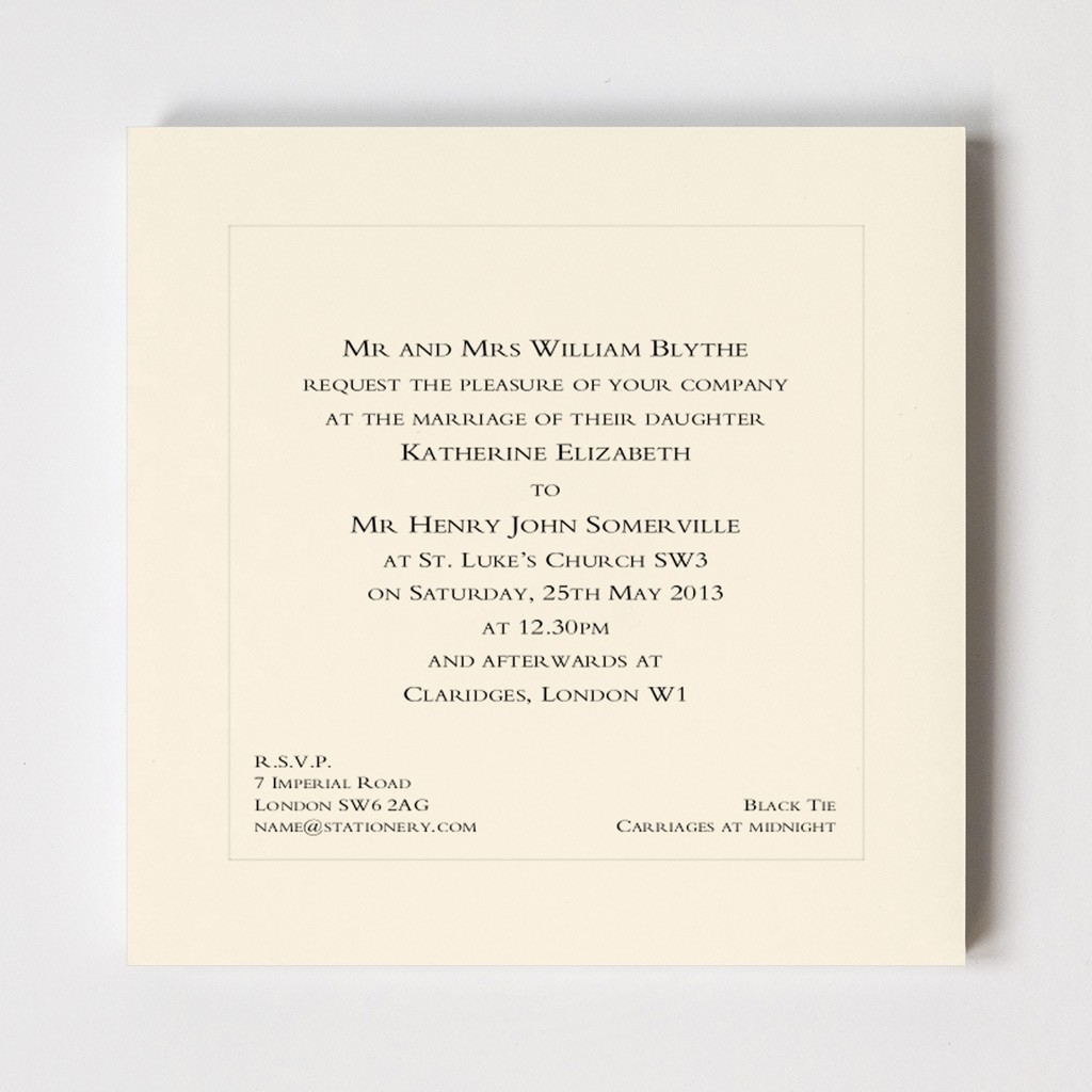 Belgravia Square Indented Wedding Invitation