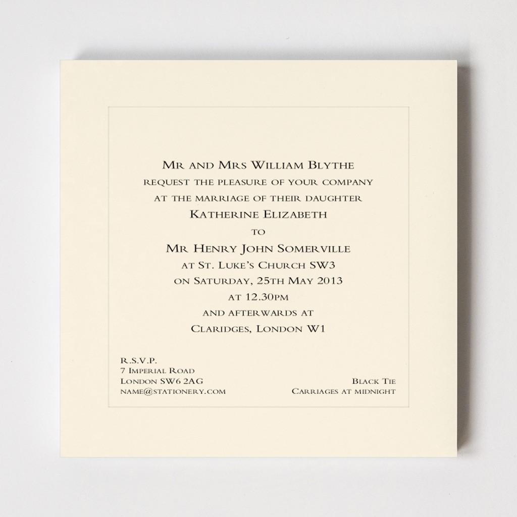 Belgravia Square Indented Wedding Invitation