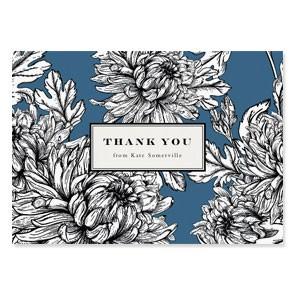 Botanical Folded Thank You Cards - Blue