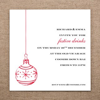Christmas Hanging Bauble Invitation