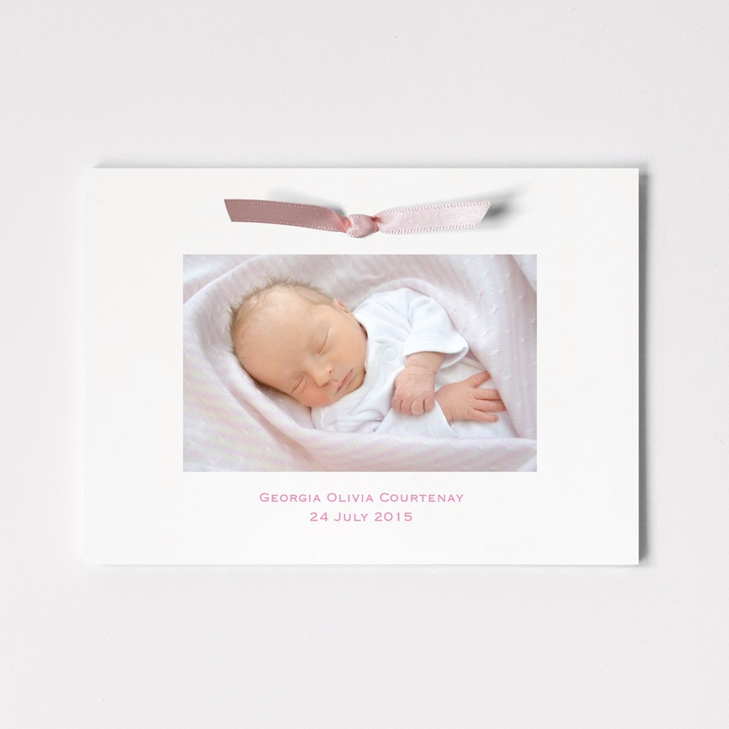 Photograph Ribbon Announcement - Folded Card