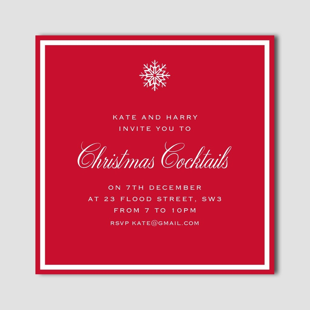 Snowflake Border 'Christmas Cocktails' Invitation