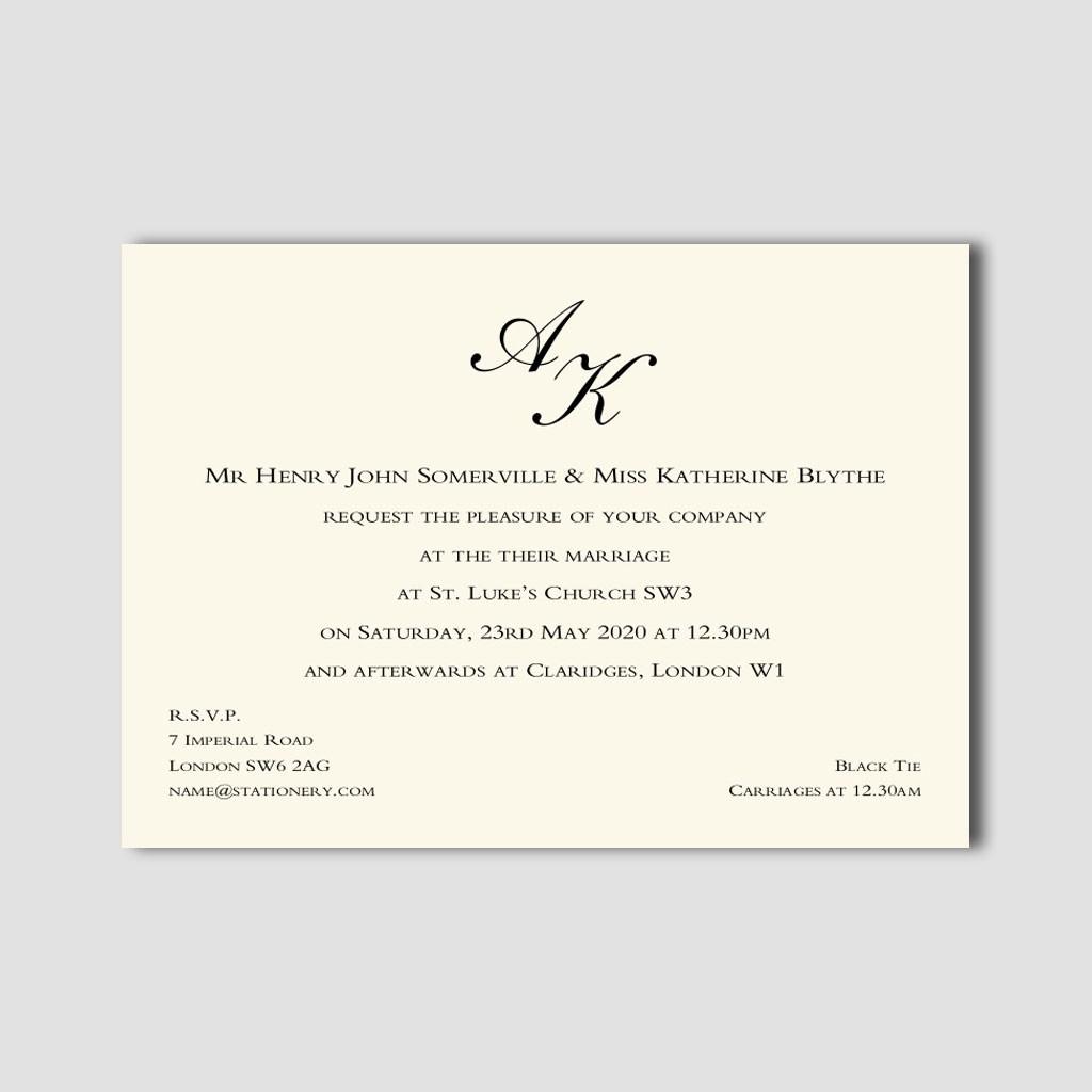 St James Monogram Invitation 500gsm