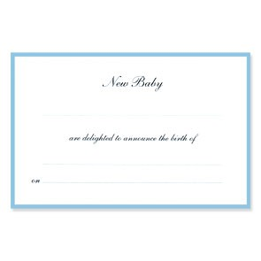 Border Birth Announcements - Ready to Write - Blue