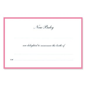 Border Birth Announcements - Ready to Write - Pink