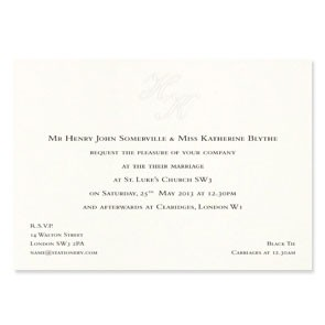 St James Monogram Invitation 500gsm