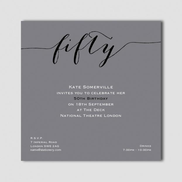 Flirty Fifty Grey Invites