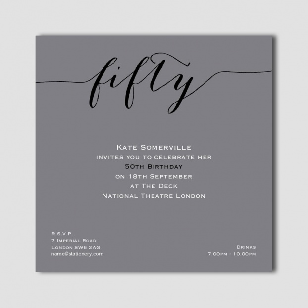 Flirty Fifty Grey Invites