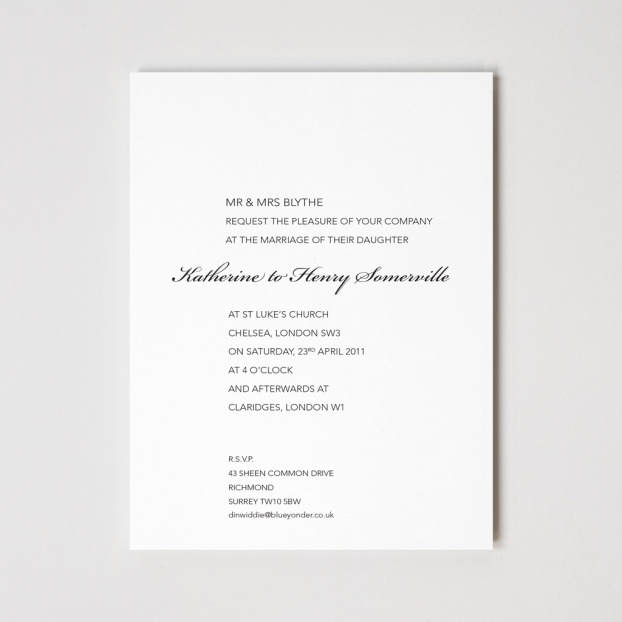 Primrose Hill Letterpressed Wedding Invitation