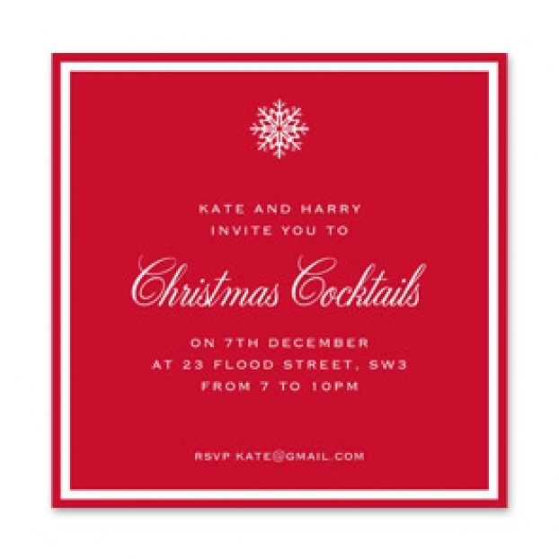 "Snowflake Border ""Christmas Cocktails"" Invitation"