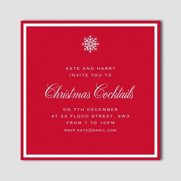 Snowflake Border 'Christmas Cocktails' Invitation